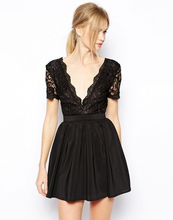 Club L Skater Dress with Scalloped Lace // #Shopping