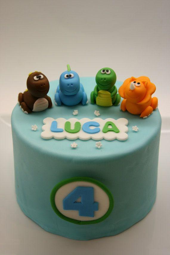 Dinosaur Cake Topper Set by BeautifulKitchen on Etsy, $45.00