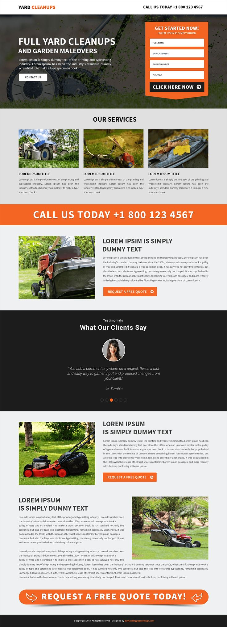 Responsive Yard Cleaning Services Landing Page Template $29 only BuyNow!