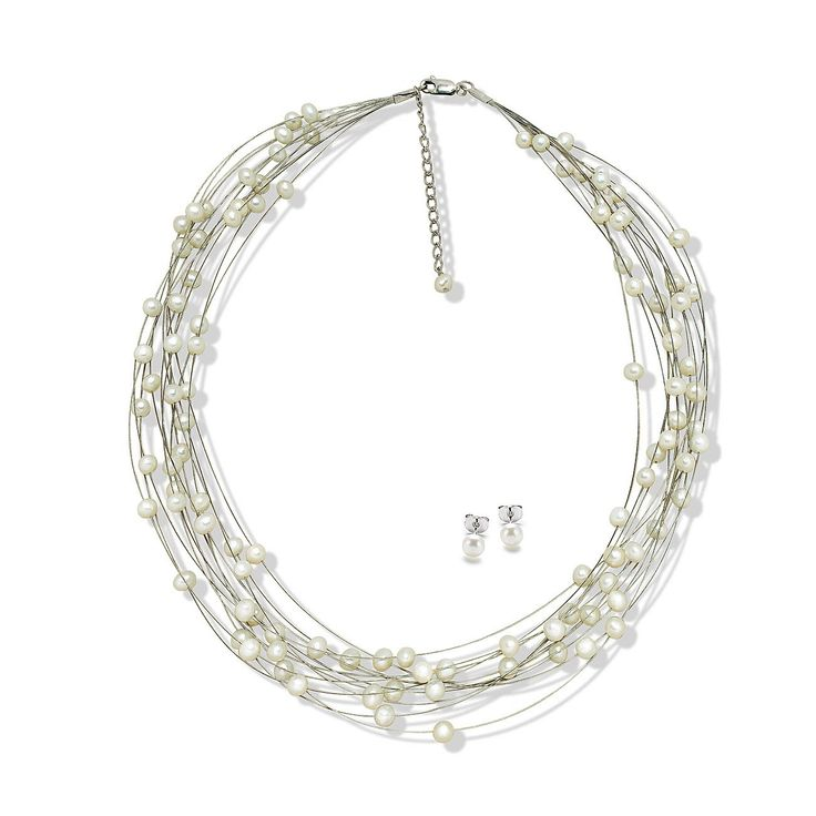 Set Valero Pearls & Sakura Pearl Fulgi de Nea (cercei, colier multișir)