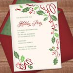 Christmas Invitation Templates with Holly