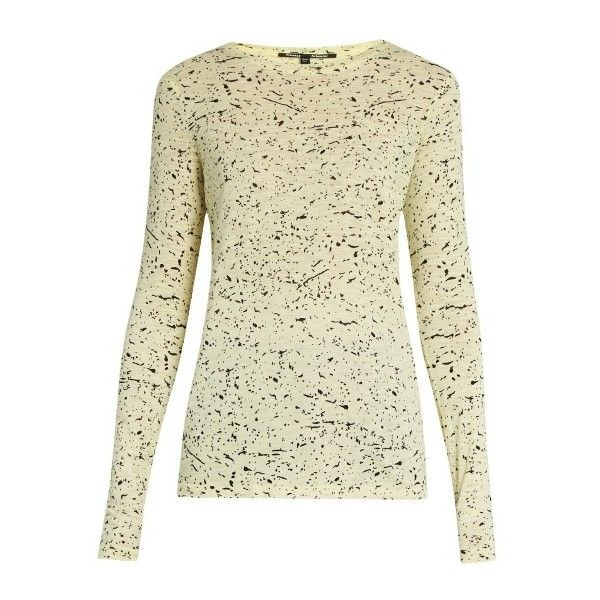 Proenza Schouler Splatter-print cotton-jersey T-shirt (335 AUD) ❤ liked on Polyvore featuring tops, t-shirts, pattern tees, pattern t shirt, beige top, patterned tops and proenza schouler top