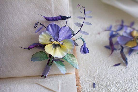 Handmade silk flower brooch  pansy brooch by FloribundaSilkFlower, $105.23