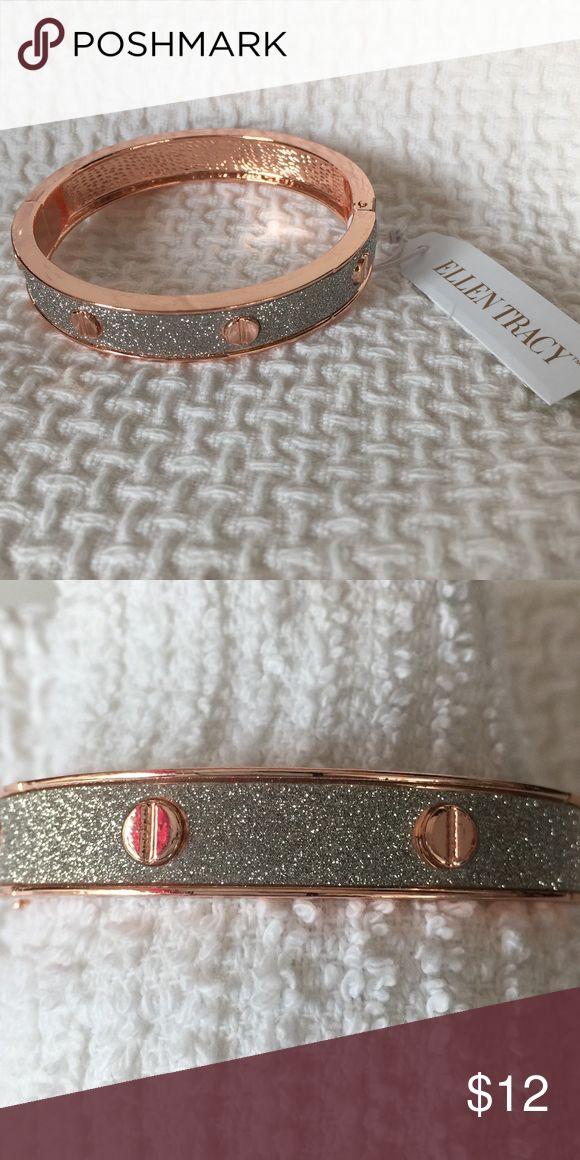 Ellen Tracy rose gold tone bangle bracelet FIRM 🌷 NWT Ellen Tracy rose gold tone with silver sparkle. Ellen Tracy Jewelry Bracelets