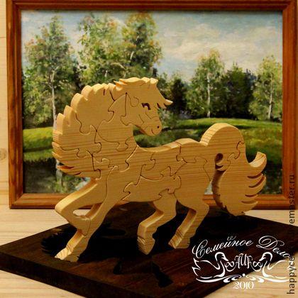 """Пазлы из дерева. Лошадка """"Пони"""". Подарочный вариант. Puzzle - коричневый"""
