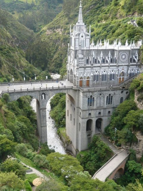 Las Lajas Cathedral near the border between Colombia and Ecuador