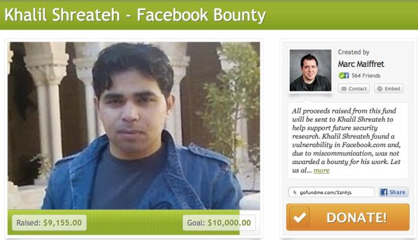 Hacker community rallies to reward Facebook bug finder. In just 24 hours, supporters have pooled together $10,000 to reward Khalil Shreateh for discovering a vulnerability in the social network.