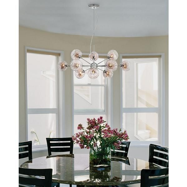 Possini Euro Wired Glass And Chrome 32 Inch W Chandelier