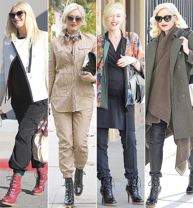 Pregnant in heels, Gwen Stefani still wears her fave L.A.M.B. booties.