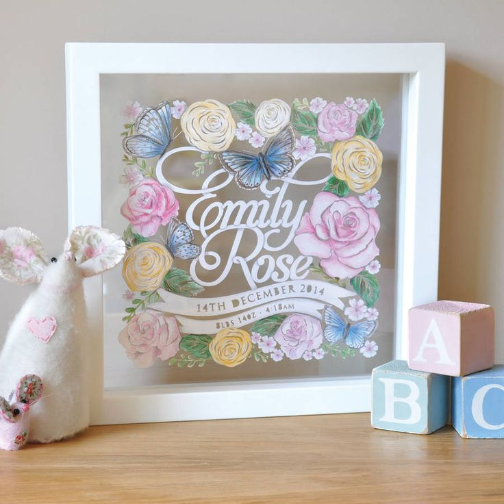 Personalised Baby Girl Birth Announcement Papercut