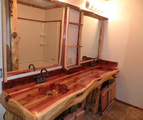 Handcrafted, Handcarved Cedar Log Bathroom Vanity. $2,300.00, via Etsy.