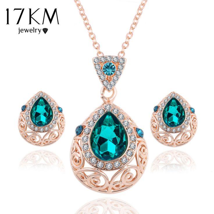 17 KM Elegante Gema Verde de La Vendimia Sistemas de La Joyería de Cristal Austriaco Cadena Gota Pendientes del Collar Para Las Mujeres Joyería Del Partido joyeria