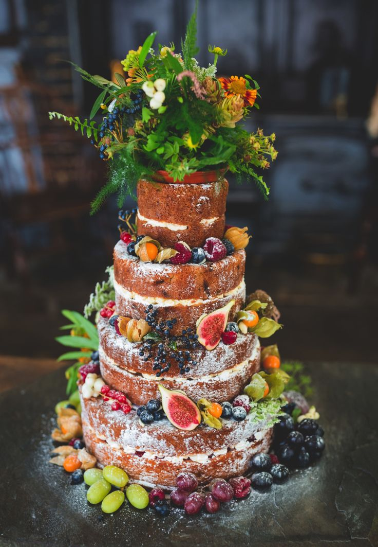 Nature-inspired naked wedding cake. Real Simple Photography #wedding #cake #naked #photography