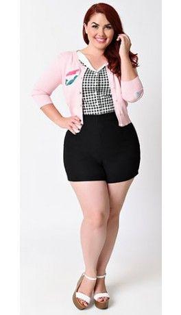Plus Size Retro Rockabilly Black High Waist Stretch Bombshell Shorts