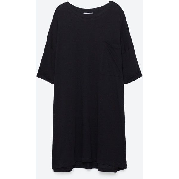 OVERSIZED T - SHIRT DRESS-T-SHIRTS-TRF | ZARA United States ($50) ❤ liked on Polyvore featuring dresses, oversized t shirt dress, oversized dress, tee shirt dress, t-shirt dresses and tee dress