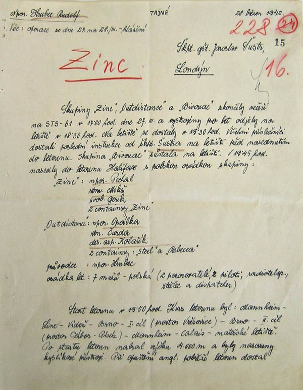 Report of Rudolf Hrubec from 28 Mar. 1942 for operational plans for Operation Zinc and Out-Distance