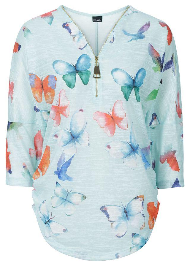 Shirt z nadrukiem motyli Luźniejszy • 79.99 zł • bonprix