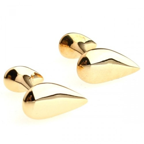 Gold Smooth Water Drop Cufflinks