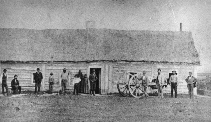 """Metis cottage"" Source: Title: Metis cottage Source: Archives of Manitoba, Red River Settlement - Homes 1, N4611 Year: 1870: from Digital Resources on Manitoba History"