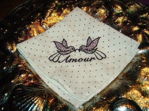 Polka Dot Embroidered Handkerchief by cajunstitchery on Etsy, $10.00
