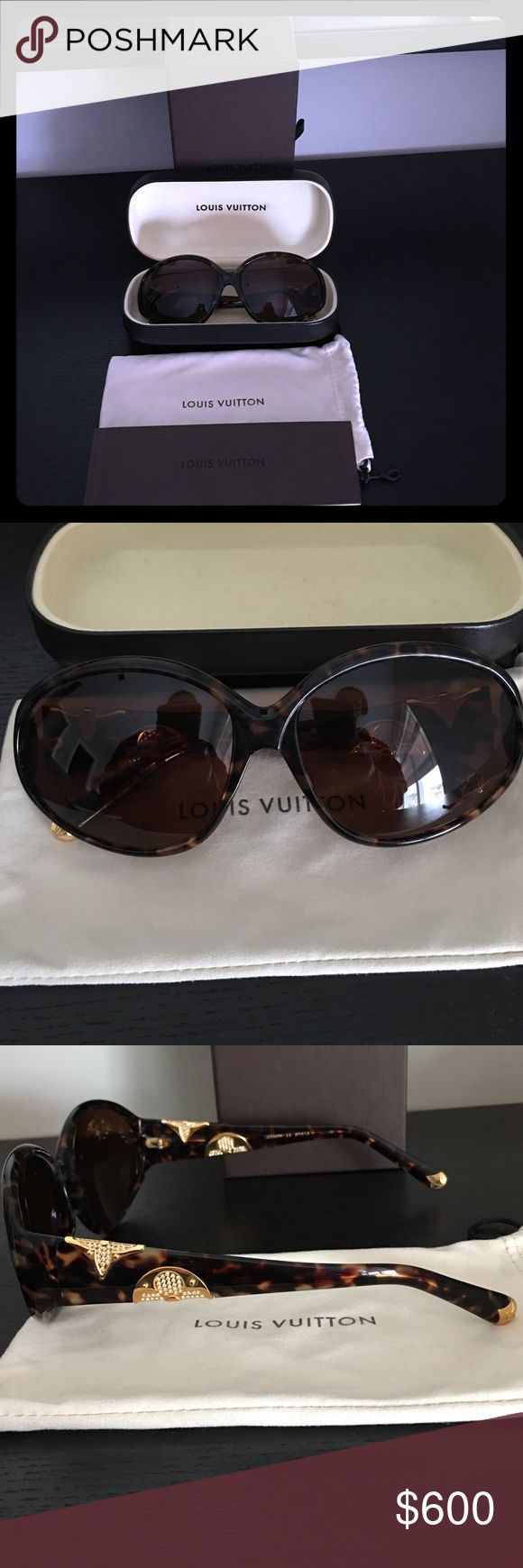 Authentic LV sunglasses PERFECT condition comes with original LV box booklet and both soft and hard cover these were hand made Italy serial # is posted in above pic Louis Vuitton Accessories Glasses
