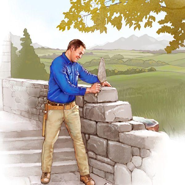 Un jeune homme dans le Paradis, une truelle à la main, montant un mur de pierre