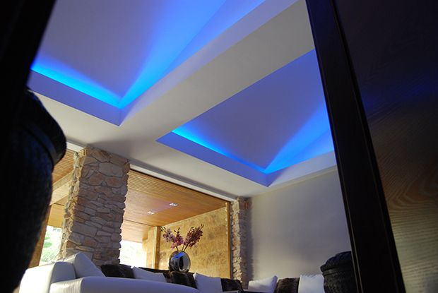 Integrated LED lighting in ceiling in luxury villa in Maspalomas, Gran Canaria.