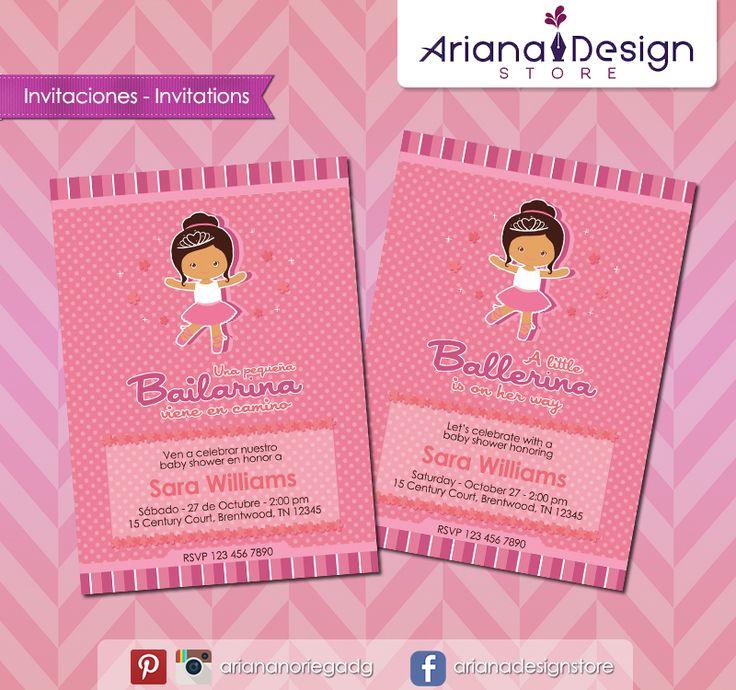 #printable #invitation #ballerina #bailarina #ballet #arianadesignstore #invitacion #imprimible #fiestainfantil #babyshower #babyshowerdecorations #babygirl