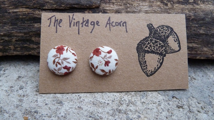 Floral Fabric Button Earrings. $6.00, via Etsy.