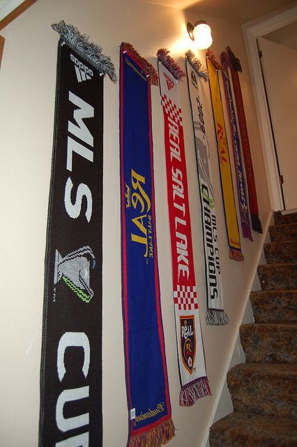 Soccer scarf wall