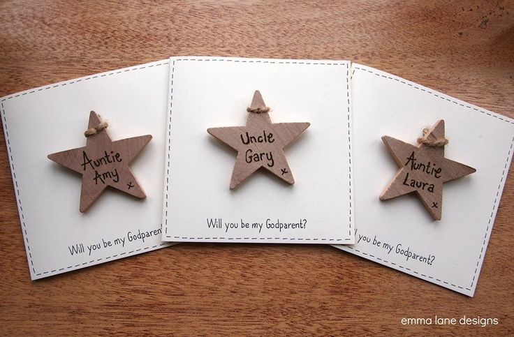 The perfect way to ask Godparents or simply a keepsake card for a Christening or Baptism. A card that can be treasured forever as it features a personalised wooden tag. A keepsake and card in one. £4.50 each  |  Emma Lane Designs