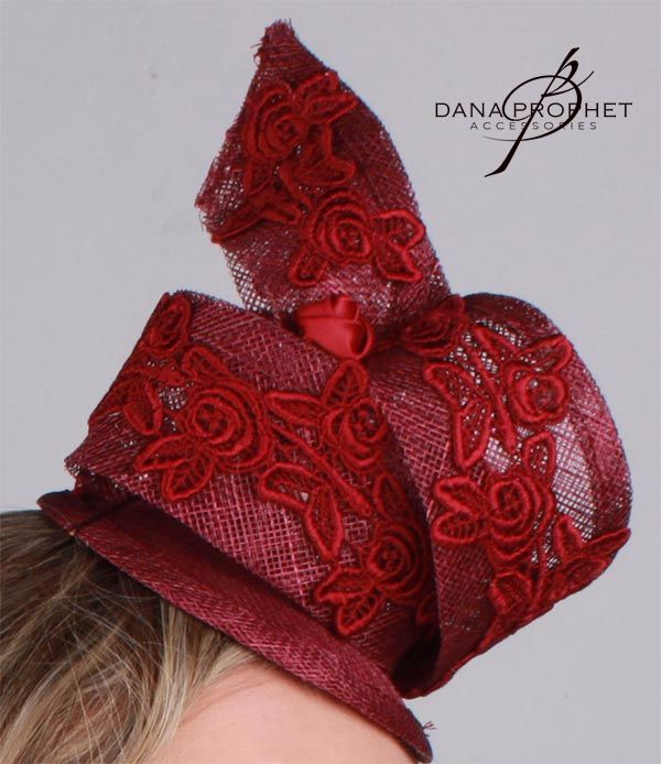 Gorgeous Red Twist Fascinator with red lace trim and two tiny satin roses.  https://www.facebook.com/commerce/products/1207856955980142/  #hat #fascinator #races #durbanjuly #horse #horserace #southafrica #kentuckyderby #royal #sinamay #celebrations #weddings #bridal #bridesmaids #derbyhat #pillbox #headpiece #melbournecup #royalascot #derbyday #Oaksday #accessories #danaprophetaccessories #Red #Maroon #lace #trim  #flower #lace #satin