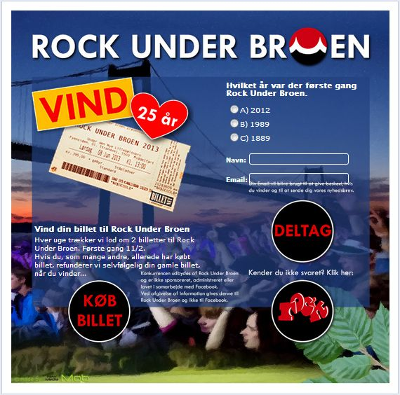 Rock Under Broen. Facebook, competition, administration panel.