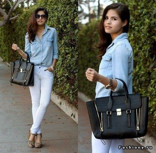 Рубашки. Как и с чем носить? / женская рубашка в бело-синюю полоску с чем носить