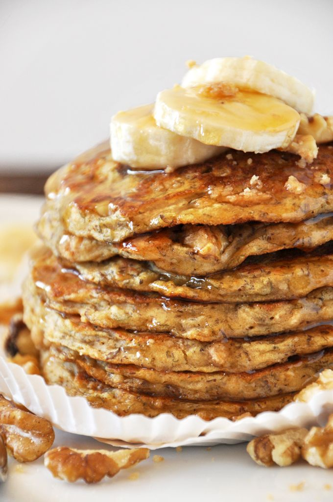 """Vegan Banana Nut Muffin Pancakes. I think you can substitute the weird vegan """"butter"""" with applesauce."""