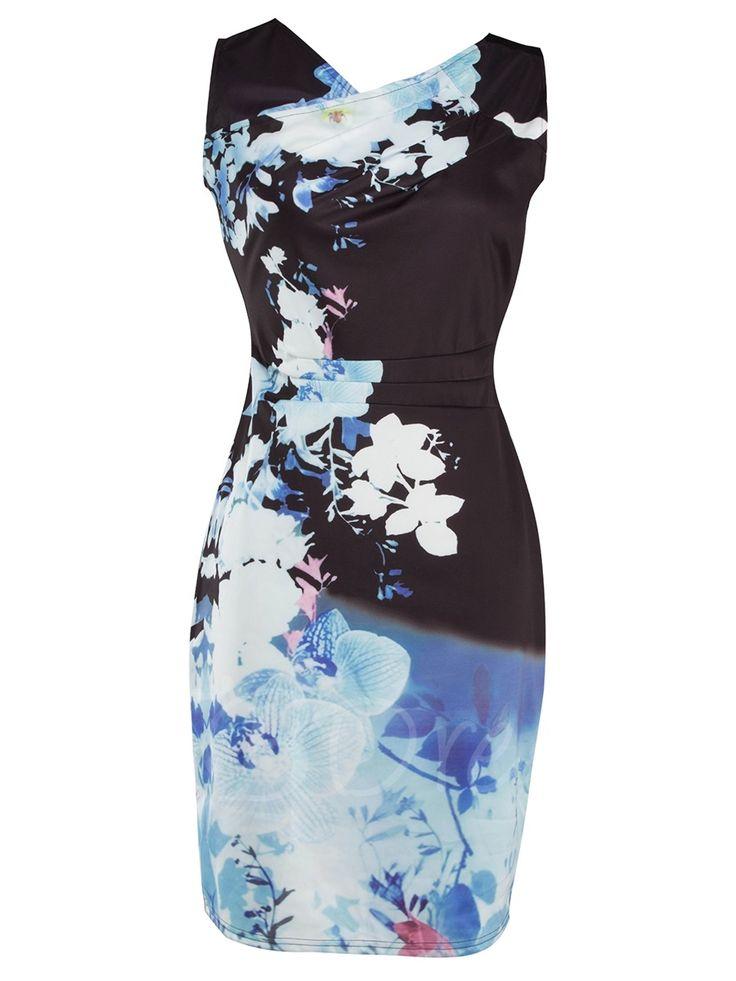 Tbdress.com offers high quality Sleeveless Floral Side Zipper Women's Bodycon Dress Bodycon Dresses unit price of $ 21.99.