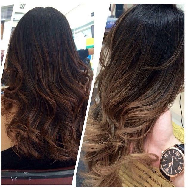 Black hair with Sombré technique. Cabelo preto com técnica Sombré.  Sombré Hair.