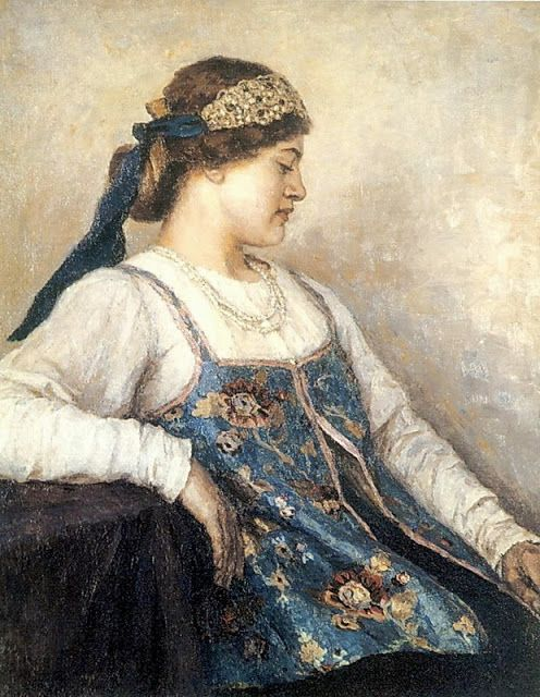 Vasily Surikov - Portrait of Natalja Fedorovna Matveeva
