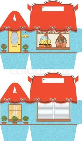 Vector of 'Favor, gift, cupcake box die cut. Designer template.' on Colourbox