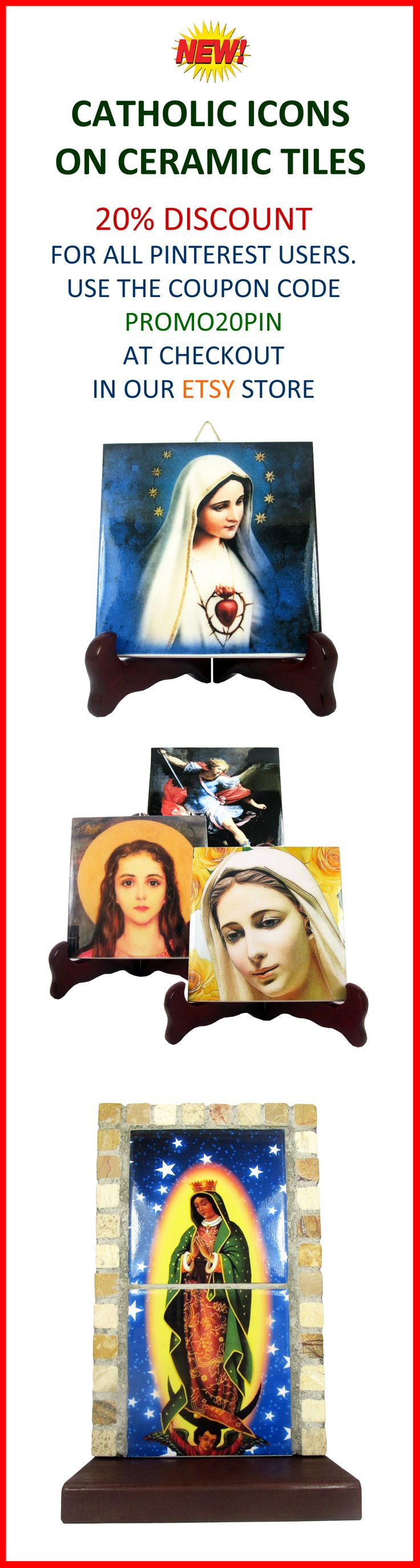 New of the year! Religious Icons on Ceramic Tiles. Visit our Etsy store and use the coupon code PROMO20PIN. You will have a 20% discount on all our works. https://www.etsy.com/shop/TerryTiles2014?ref=hdr_shop_menu&section_id=14950788