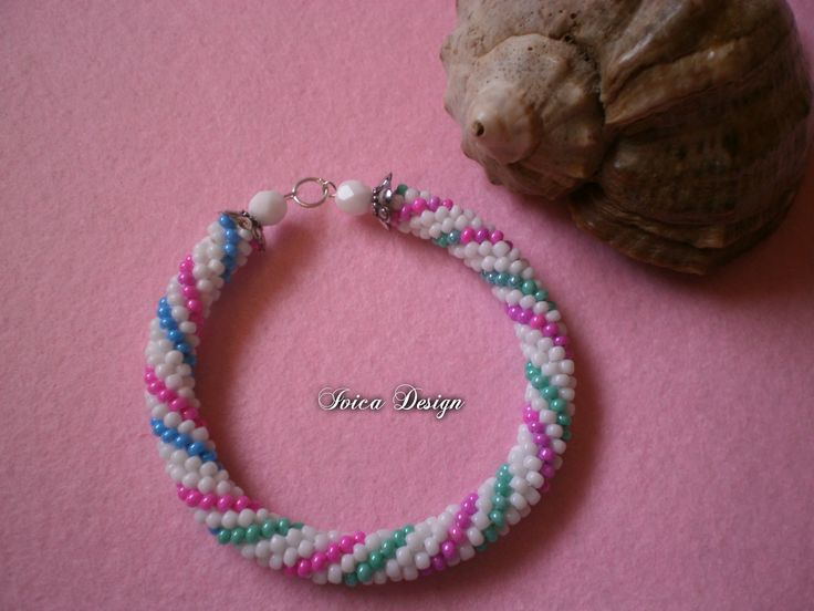 White-Rainbow bead crochet bracelet <3 Find my bead dreams on: https://www.facebook.com/IvicaDesign/