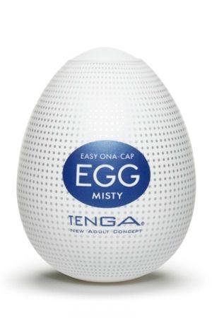Tenga Egg Misty Sa texture interne est composée de nombreuses bosses microscopiques qui créent un voile de sensations de plaisir cajolant votre verge. Utilisation: Placez le sextoy sur le bout du pénis, étirez le et faites vous plaisir!  Caractéristiques: - Masturbateur pour homme - Dimensions: 6,7 x 5,2 cm - Matière: Elastomère ultra doux et très élastique. - Taille unique, s'adapte à toutes les tailles jusqu'à 30,5 cm en longueur - Lubrifiant inclus -Réutilisable - Marque: Tenga