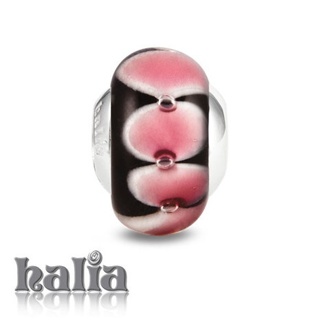 Ribbons & Bows: Bright variegated pink through white bubbles on a dark background: murano glass bead on a sterling silver barrel: designed exclusively by Halia, this bead fits other popular bead-style charm bracelets as well. Sterling silver, hypo-allergenic and nickel free.     $36.00
