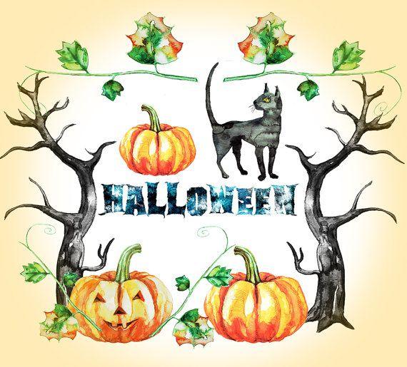 Hand painted Halloween clipart, Watercolor clipart, Halloween pumpkin, Halloween Printable, cat, Watercolor Clip - DimVectorDesign