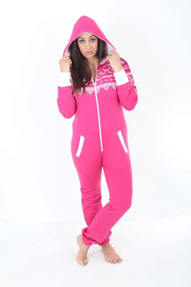 A PINK AZTEC PRINT adult onesie suitable women and girls Pink colour with white accent chunky zip 65 cotton 35 Polyester This GREY all in one suit is