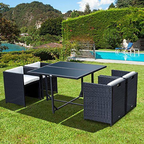 Outsunny 5pcs Rattan Garden Furniture Outdoor Dining Table and Chairs Set Patio  Wicker Furniture   4. 25  best Black Rattan Garden Furniture ideas on Pinterest   Wood