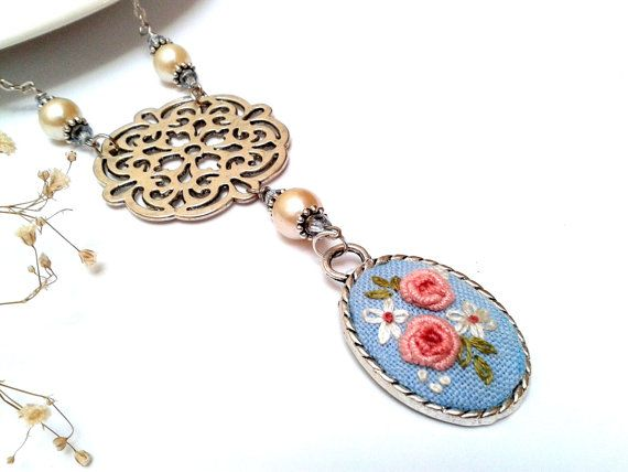 Antoinette necklace, Pink Roses Rosette and hand embroidered pendant