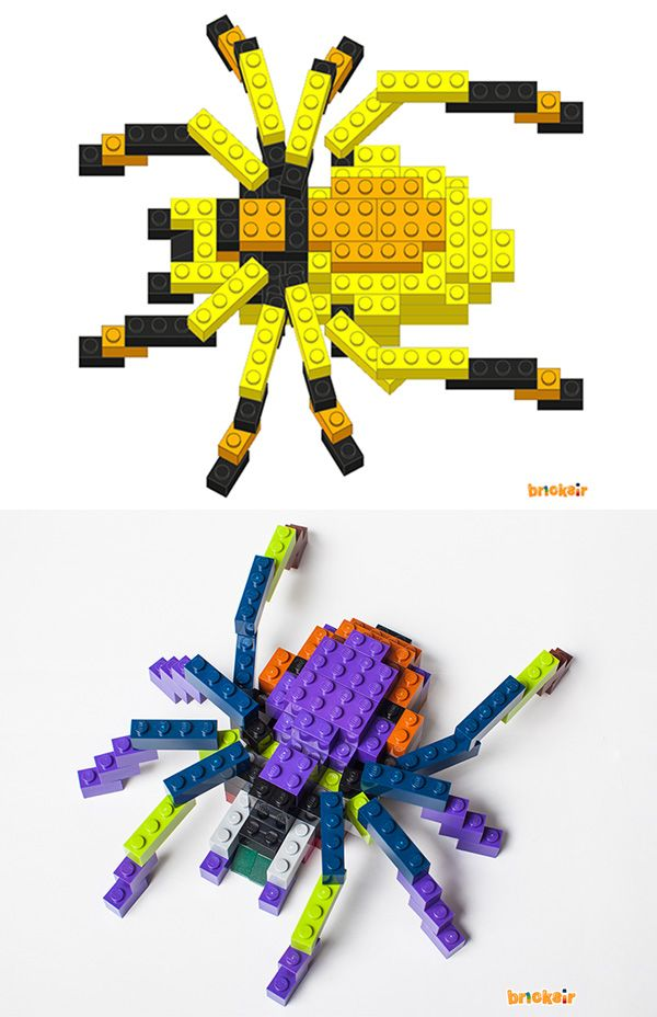 Have you tried mixing and matching colors with our Lego Instructions? Just use the colors you have and it will turn out wonderful! Take a look! Which spider do you like better? Free app download at: https//appsto.re/us/WRyX6.i for iPhone and iPad. #bricksir #lego #legos #halloween #spider #parents #kidactivities www.bricksir.com