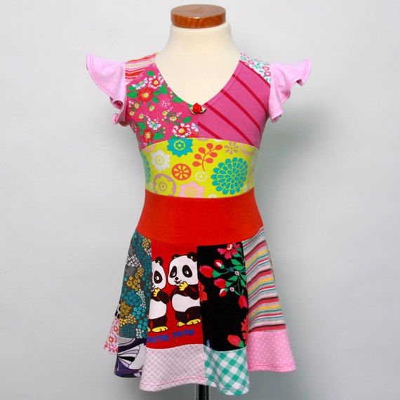 Size 2T up to 4T girls upcycled tshirt twirl dress by dressme