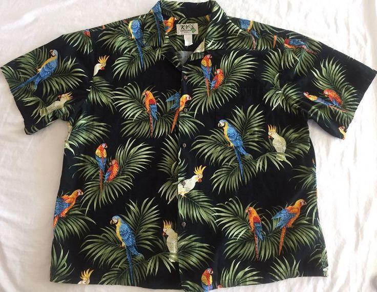 Hawaiian Shirt 2XL Bird Parrot Cockatoo Aloha Print Kys Made in Hawaii Tropical  #Kys #Hawaiian